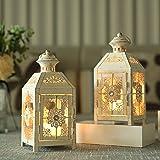 "JHY DESIGN Set of 2 Decorative Candle Lantern 9.5"" High Metal Candle Lantern Vintage Style Hanging Lantern for Wedding Partie"