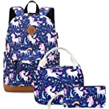 Backpacks for Girls Cute Unicorn School Bags with usb Charging Port Lightweight Kids School Bags Backpack with Lunch Box and