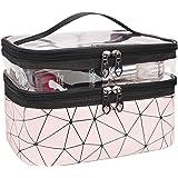 MKPCW 二層で透明的な携帯しやすい旅行用化粧バッグも洗面バッグだ (ピンク)