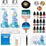 JANCHUN Resin Kit for Beginners,Coating and Casting Coaster Molds for Resin Casting with Foil Flakes Color Pigments,Art Resin