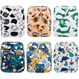ALVABABY Pocket Newborn for Less Than 12pounds Baby Snaps Cloth Diapers Nappy 6pcs + 12 Inserts 6SVB10