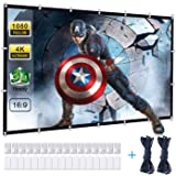 Powerextra Projector Screen, 120 inch 16:9 HD Foldable Anti-Crease Portable Washable Projection Screen for Home Theater Outdo