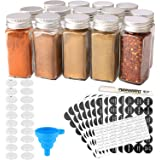 MONICA 14 Glass Spice Jars with w/2 Types of Spice Labels.4oz Empty Square Spice Bottles,Three Kinds of Shaker Lids and Airti