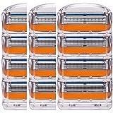 ジレット フュージョン用 替刃 互換品 3セット 12個 髭剃り Gillette Fusion プログライド パワー 替え刃 オレンジ