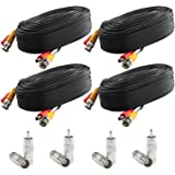 Postta BNC Video Power Cable (4 Pack 30 Feet) Pre-made All-in-One Video Security Camera Cable Wire with Eight Connectors for