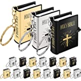 18 Pieces Mini Book Keychain Miniature Book Keyring for Church Souvenir Gifts