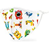 Weddingstar Kids Washable Cloth Face Mask Reusable and Adjustable Protective Fabric Face Cover w/Dust Filter Pocket - Colorfu