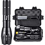 LED Flashlight Powerful Rechargeable 18650 5000mAh Battery Charger Pouch Gift Box Mount Included 1200lm L2 Phixton Handheld Z