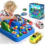 Lucky Doug Race Car Tracks for Boys, Car Adventure Toys with 4 Mini Car 6 Buttons for 2 3 4 5 6 Years Old Toddlers Boys Girls