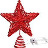 Aoriher 20 Light 10 Inches Christmas Star Tree Toppers Battery Operated Tree Topper with 20 Mini LED Lights for Christmas Hol