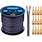 InstallGear 14 Gauge AWG 100ft Speaker Wire Cable with 12 Banana Plugs