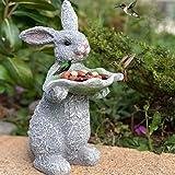 Wild Bird Feeder for Outside, Wild Bird Seed for Outside Feeders, Resin Rabbit Shaped Holding Leaf Birds Feeder and Garden De