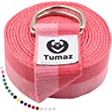 Tumaz Yoga Strap/Stretch Bands [15+ Colors, 6/8/10 Feet Options] with Extra Safe Adjustable D-Ring Buckle, Durable and Comfy