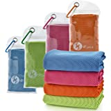 "U-pick [4 Packs] Cooling Towel (40""x 12""), Ice Towel, Microfiber Towel, Soft Breathable Chilly Towel for Yoga, Sport, Gym, Wo"