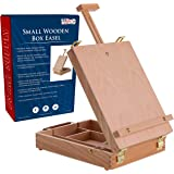US Art Supply Newport Small Adjustable Wood Table Sketchbox Easel - Desktop Artist Easel - Wooden Portable Compact Stand - St