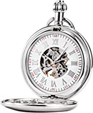 TREEWETO 機械式 懐中時計 クラシック アンティーク スケルトン ローマ数字 シルバー チェーン付き