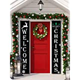 2 Pieces Welcome Christmas Banners Christmas Hanging Porch Sign Black Color Merry Christmas Outdoor Sign for Home Wall Indoor