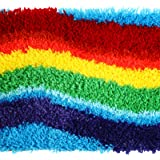 DIY Rainbow Latch Hook Tool Cushion Carpet Mat Latch Hook Rug Kits Handmade Latch Craft Kits with 19 x 14 Inch Printed Canvas