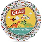 Glad for Kids Paper Plates, 20 Count Small Round Paper Plates with Cute Designs for Kids Heavy Duty Disposable Soak Proof Mic