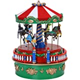 "Mr. Christmas 5"" Carousel Mini Animated Carnival Music Box"