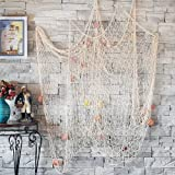 CoZroom Fish Net Wall Decoration Pack with Seashells for Party Home Living Room Bedroom Mediterranean Style Medium Size 4ft 1