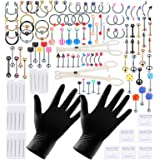 Xpircn 120PCS Piercing Jewelry Kit Piercing Needles Stainless Steel Acrylic 14G 16G Nose Lip Tongue Eyebrow Tragus Belly Tong