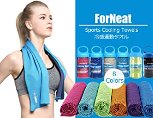 ForNeat 冷却タオル スポーツアイスタオル 速乾タオル スポーツタオル 夏の暑さを対策に 感動的に爽やか ケースはプレゼント贈りる、持ち運ぶか便利だ!運動/水泳/ヨガ/登山/旅行に最適 (明るい青)