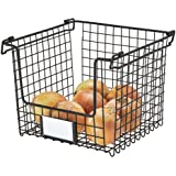InterDesign Classico Stackable Storage Basket with Handles for Pantry, Kitchen, Bathroom, Countertop, and Desk Organization M