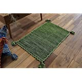 サヤンサヤン 手織り キリム調 アジアン 玄関マット 室内 屋内 キーマ 50x80 グリーン