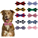 BWOGUE Plaid Dog Bow Ties,10pcs Pet Bowties Cat Bow Ties,Adjustable Bowties for Small Medium Large Dogs Cats Pets Grooming Ac