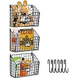 X-cosrack 3 Tier Hanging Metal Wire Basket Bin with 6 Hooks Foldable Wall Mount File Holder Sorter Magazine Mail Rack Fruit O