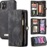 iPhone 11 Wallet Case,Zttopo 2 in 1 Leather Zipper Detachable Magnetic 11 Card Slots Card Slots Money Pocket Clutch Cover wit