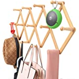 Viromo Wall Mounted Expandable Coat Rack Hanger with 13 Hooks, Eco Friendly Accordion Design for Hanging Clothes, Hat, Coffee