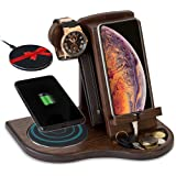 TESLYAR Wood Phone Docking Station with Wireless Charger Included Ash Wallet Stand Watch Organizer Men's Gift Charging Dock H
