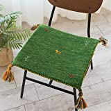 サヤンサヤン 手織り ギャベ 座布団 ミニマット SW01 40x40 ミックスグリーン ウール