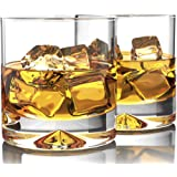 MOFADO Crystal Whiskey Glasses - Classic - 12oz (Set of 2) - Hand Blown Crystal - Thick Weighted Bottom Rocks Glasses - Perfe