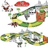 BlueFire Dinosaur Race Track Dinosaur World Race Car Track Train Toys Create A Road Dinosaur Track Toys Playset with 142 Piec