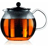 Bodum 1801-16US4 ASSAM Teapot, Glass Teapot with Stainless Steel Filter, 34 Ounce Chrome