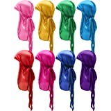 8 Pieces Silky Satin Baby Durags Kids Satin Durag Caps Headwraps with Long Tail and Wide Straps for 360 Waves