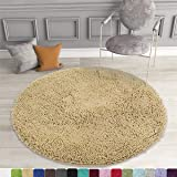 MAYSHINE Diameter Round Non-Slip Absorbent Microfiber Quick Drying Chenille Shaggy Machine Washable Dog Bed Mats Beige(3ft Di