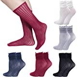 Lovful 5 Pack Lace Ruffle Frilly Floral Elastic Socks Womens Spring Colorful Breathable Casual Socks