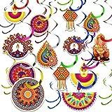 48 Pieces Diwali Decorations Kit Happy Diwali Banner Lights Party Hanging Decor Deepavali Hanging Swirls for Lights Party Dec
