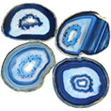 """Extra Blue 4-5"""" Natural Agate Coaster with Rubber Bumper Set of 4, by JIC Gem"""