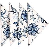 "Cloth Napkins Table Linens Dinner Napkins 18""x18 White & Blue Cotton Floral Fabric Set of 4"