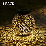 Tomshine 1 Pack Solar Lantern Outdoor Hanging Solar Lights LED Garden Lights Metal Lamp Waterproof for Patio Porch Backyard P