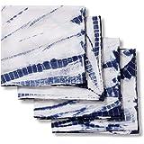 Folkulture Cloth Napkins for Dining Table or Cotton Dinner Napkins, Set of 4 Blue Shibori Reusable Napkins, 20-inch by 20-inc