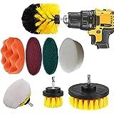 Drill Brush Set   9 pc Drill Brush Car Detailing Attachment Set   Auto Detail and Scrub Brushes, Car Polishing Pad, Buffing P