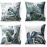 "(Topical-b) - PHANTOSCOPE New Tropical Leaves Throw Pillow Cushion Cover 18"" x 18"" 45cm x 45cm Set of 4"