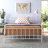 Zinus Queen Bed Frame White Metal Base Mattress Support Bedroom Furniture | Florence Bed