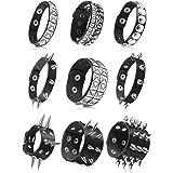 9 Pieces Punk Faux Leather Bracelet Spike Rivet Cuff Wrap Bangle Wide Snap Button Bracelets Metal Studded Wristband for Hallo